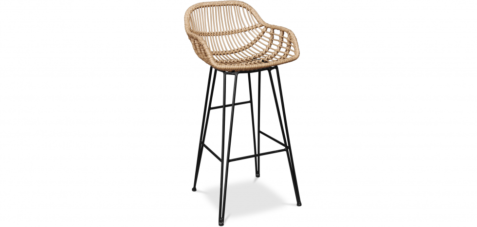 Buy Synthetic wicker bar stool 75cm - Many Natural wood 59256 - in the UK