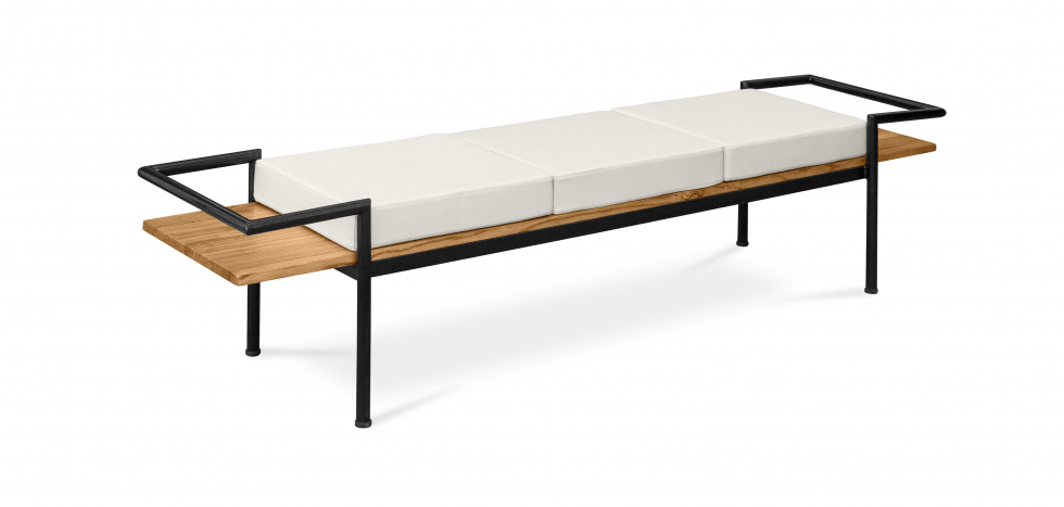 Buy Scandinavian style bench with cushions - Wood and metal Cream 59298 - in the UK