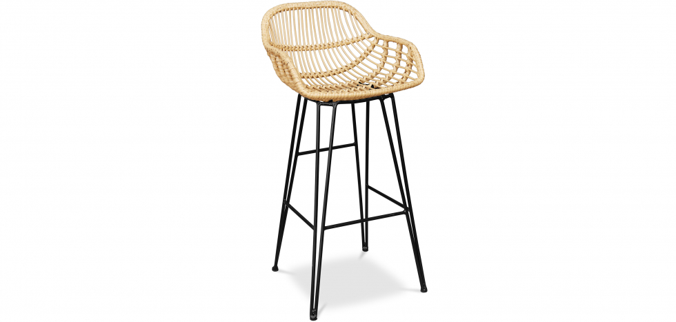 Buy Synthetic wicker bar stool 75cm - Many Yellow 59256 - in the UK