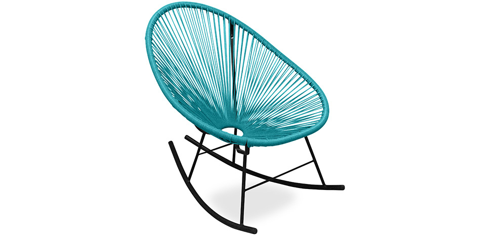 Buy Acapulco Rocking Chair - Black legs  Turquoise 59411 - in the UK